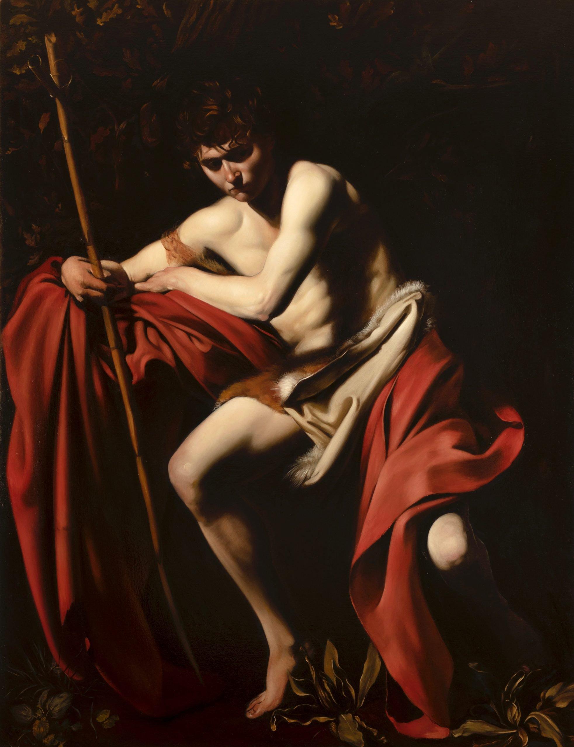 Oil painting copy by Desmond Mac Mahon of Caravaggio's St John the Baptist