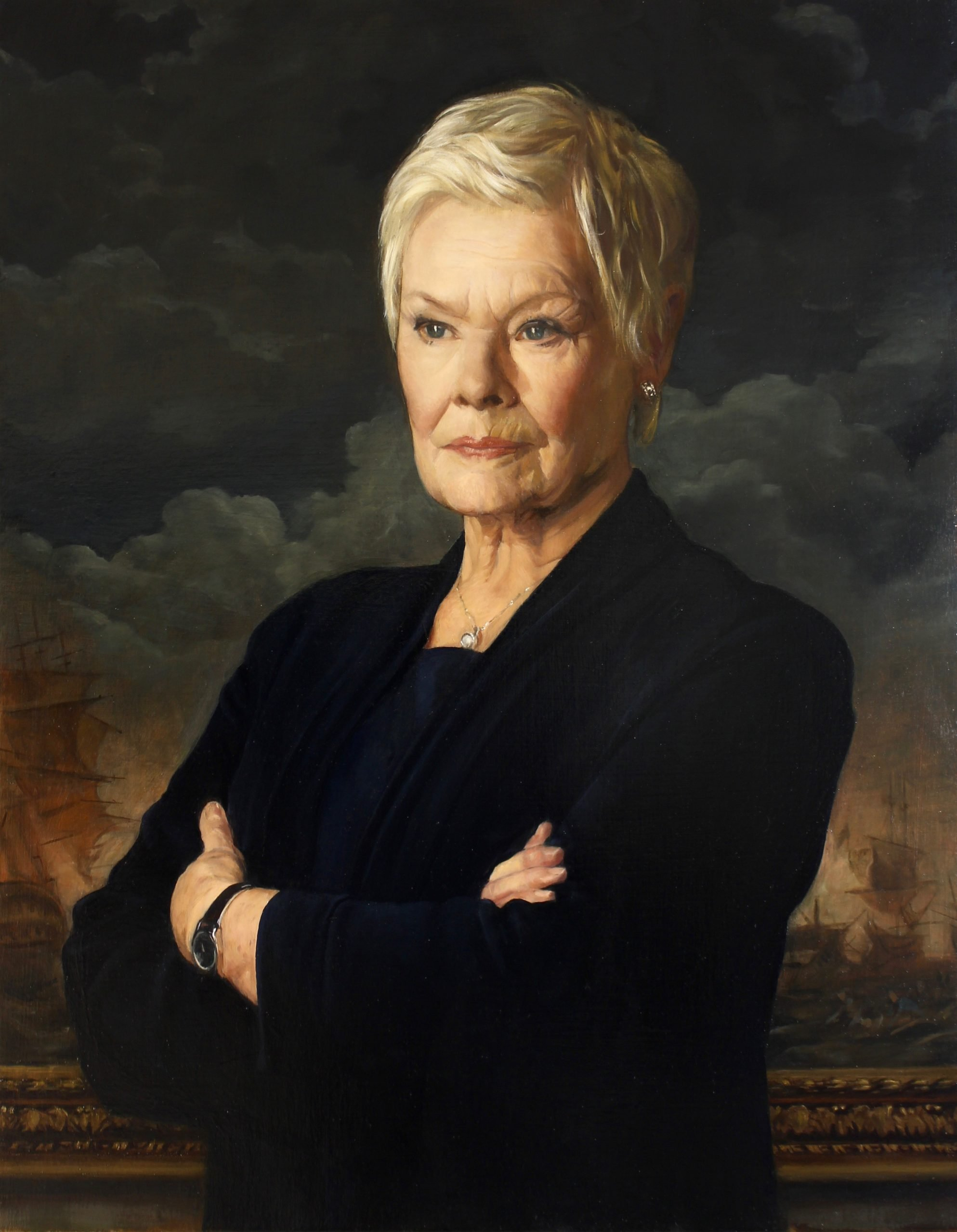 Oil portrait of Judi Dench as M by Desmond Mac Mahon for the film No Time to Die, James Bond