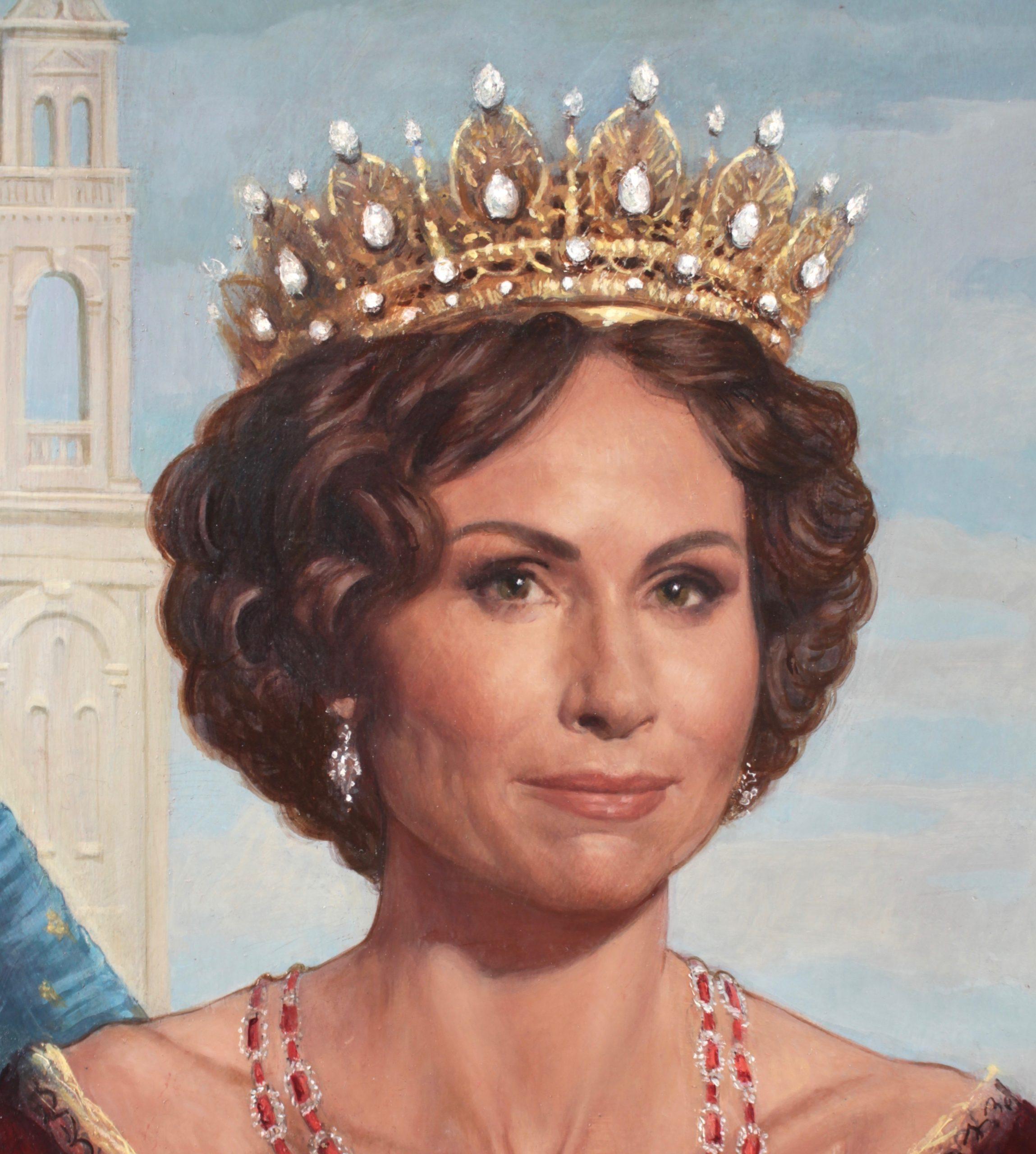 Oil portrait of Minnie Driver by Desmond Mac Mahon for the film Cinderella