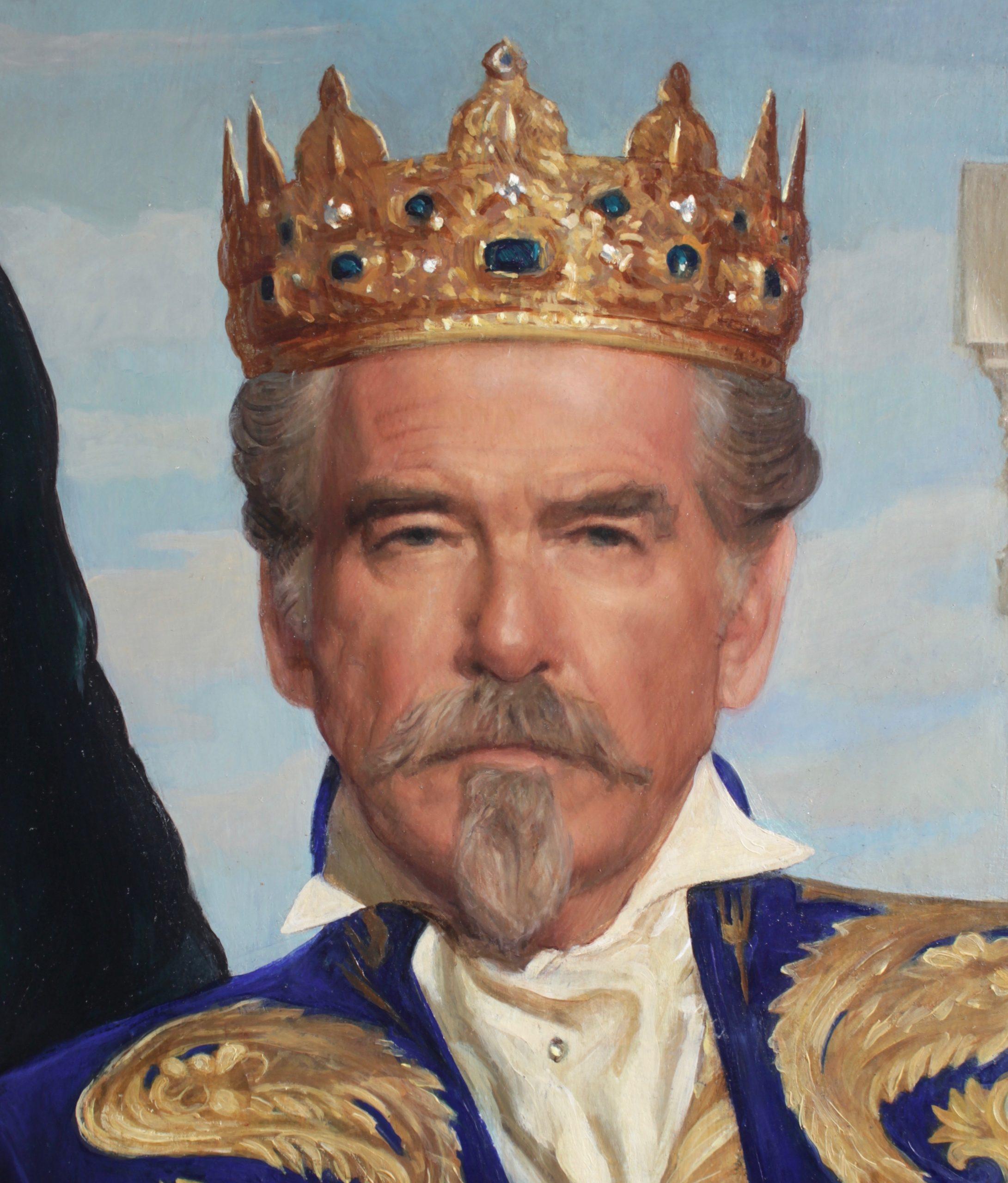 Oil portrait of Pierce Brosnan by Desmond Mac Mahon for the film Cinderella