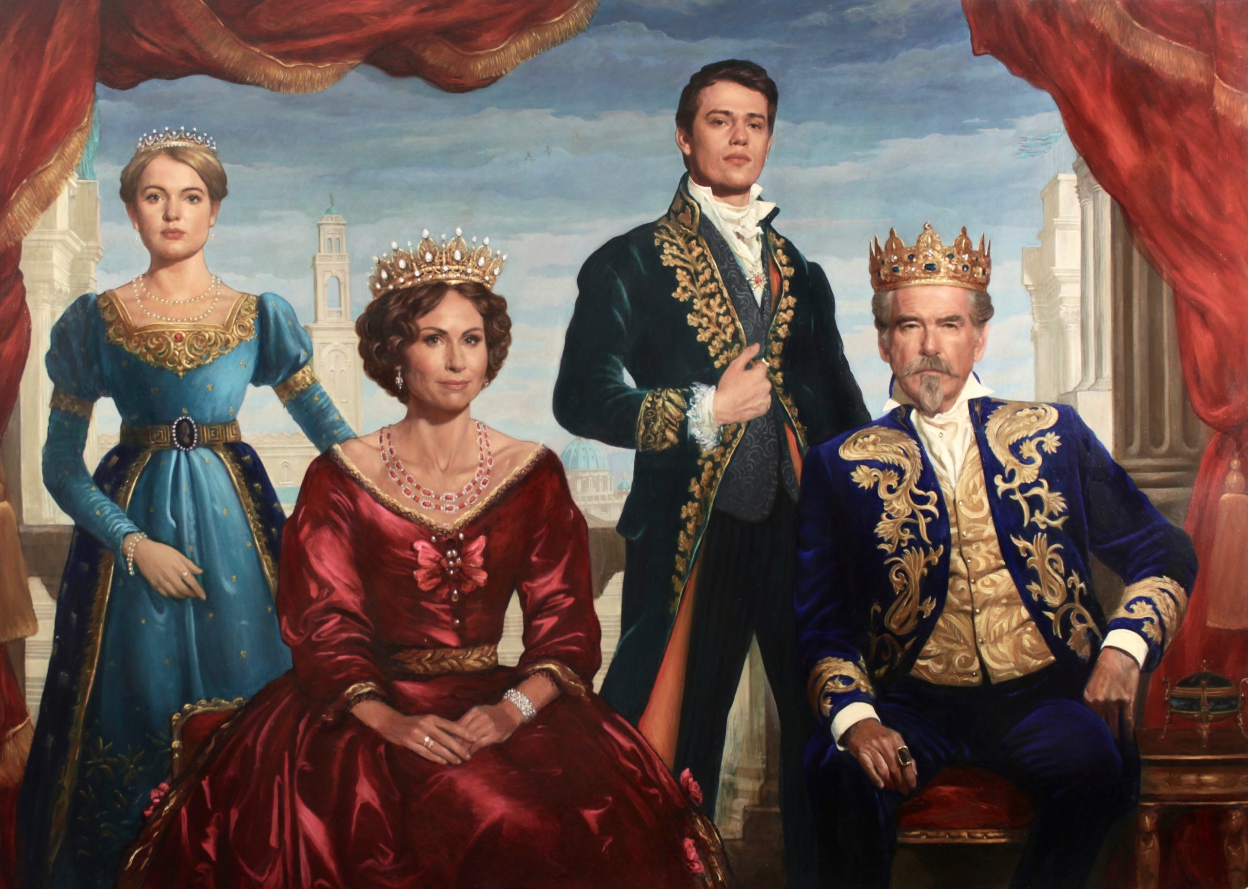 Oil portrait of the royal family by Desmond Mac Mahon for the film Cinderella